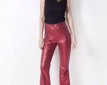 Women's high waisted disco sequin flared bell bottoms pants - 70s fashion