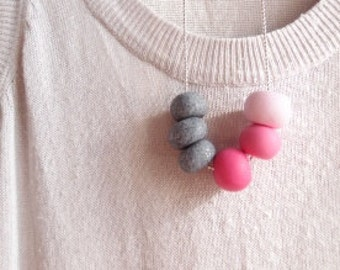 Necklace with pink balls-medium necklace with ball pendants-necklace with pearls-pink necklace-gift necklace-Valentine's Day gift