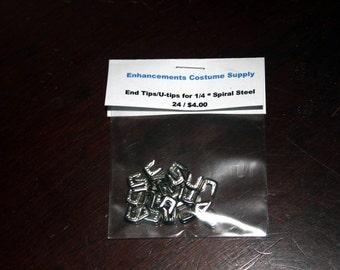 24 U Tips End Tips for Quarter Inch Wide Spiral Steel