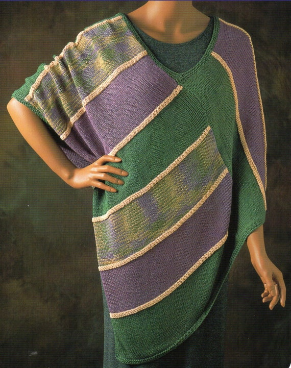 Knitting Pattern Striped Poncho : Color Block Cape Poncho Knitting Pattern Womens Stripe Poncho