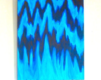 True Bluish, (SUMMER SALE 34% off original price) Original Acrylic Abstract Painting, 16x20""