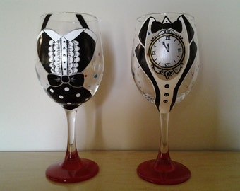 Hand-Painted New Year's Eve Glasses, Set of 2