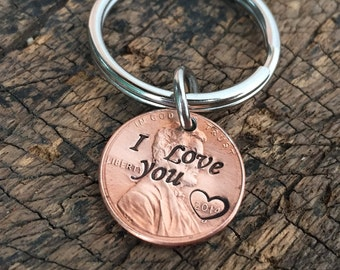 I love you keychain, penny key chain, lucky penny key ring, hand stamped, penny cham keychain, boyfriend, girlfriend, personalized key chain