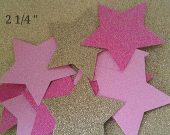 "2 1/4"" Inch - Twinkle Twinkle Little Stars! Paper Stars, Die Cut Glitter Stars, 4-24 Count, Birthday Party Confetti stars"