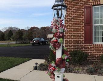 custom any deco mesh lamp post christmas fall thanksgiving halloween garland - Deco Mesh Halloween Garland