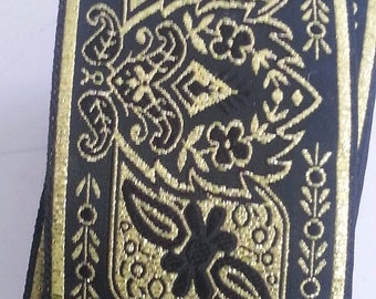 2 inch Wide Black and Gold Floral Explosion Jacquard Ribbon Trim SCA LARP, Medieval, Renaissance, Fantasy