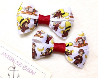 Curious George - Set of TWO Hair Bows / Barrettes / Clips!