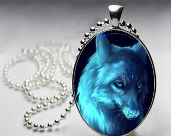 Fantasy Style Wolf Blue Moon Midnight Lighting Mystical Beautiful Creature