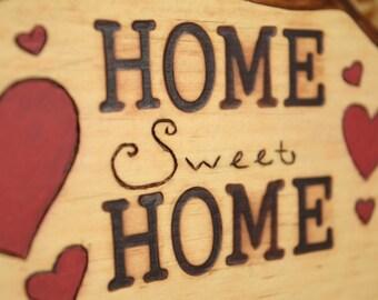 Home Sweet Home, Keyholder, Handmade Keyholder, Wood Keyholder, Woodburned Plaque
