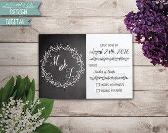 Printable RSVP Card - Chalkboard and Branches - Digital File - Customizable