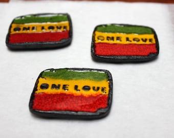 Hand made Reggae fridge megnet One Love Bob Marley ceramic