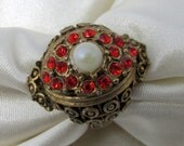 Red Rhinestone Vintage Cocktail Ring