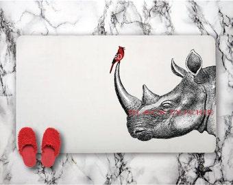 Rhino and Cardinal Bath Mat - Rhinoceros and red bird rug - safari animals birds romantic bath mat
