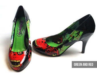 CLEARANCE Zombie Apocalypse High Heels - Green & Red