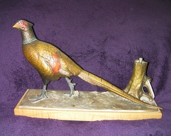 Antique, Cold Painted Bronze Pheasant, Table Lighter, collectable. Made in Austria