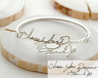 40% OFF* Memorial Signature Bangle - Personalized Handwriting Bangle - Keepsake Jewelry in ...