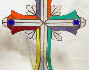 Beautiful  STAINED GLASS CRUCIFIX !  Very Large