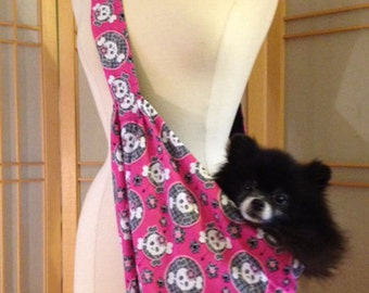 Doggy Bag Small Pet Sling Carrier Pink Skull print, 100% cotton, fully lined