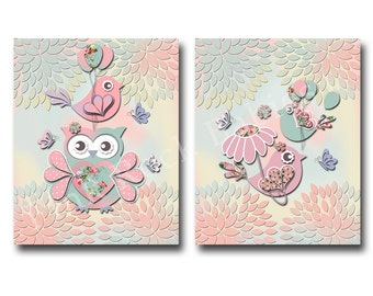 owl decor kids room wall decor for baby girl room decor children room decor pink nursery art kids artwork children room art nursery decor