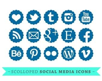 Social Media Icons - for Blogs & Websites - scolloped - royal blue