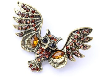 Owl Brooch Crystal Brown Owl Broach Owls Brooches Jewelry