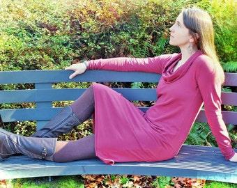 Terra Dress - Organic Cotton Jersey, Hand Dyed, Long Sleeve Cowl Neck Dress