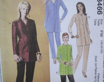 UNCUT McCalls Sewing Pattern 3466 Size 18, 20, 22 Misses/Miss Petite Tunic and Pants