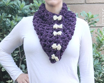 "The ""Ellen"" purple cowl scarf with bows"