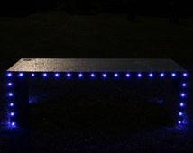 Illuminated Garden Bench with LED lights. LED lighted solar Concrete Bench. Glow in the dark Bench. Bench Seating. Betong Benk. Gartenbank.