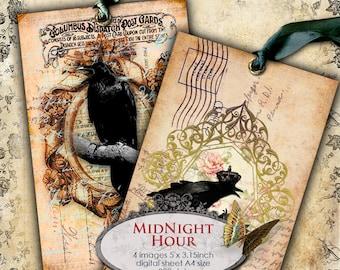 MIDNIGHT HOUR 5x3 inch old postcard size digital black raven paper gothic scrapbook Digital collage sheet instant download printable - pp119