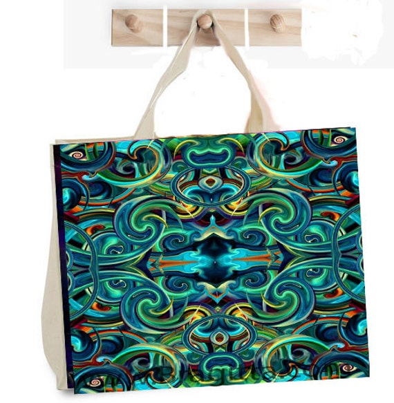 "Large Canvas Grocery bag with artist logo ""paisley """