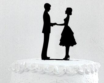 Wedding cake topper silhouette, Family cake topper