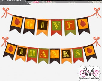 INSTANT DOWNLOAD: Give Thanks Banner, Thanksgiving/Fall Theme