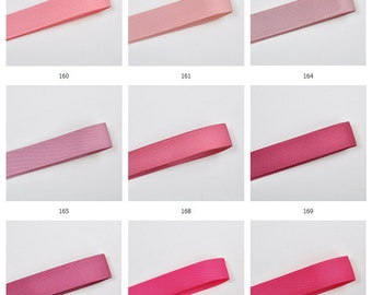 100y Solid Grosgrain ribbon DIY ribbon tape Hairband bow ribbon Wholesale -Pink & Red