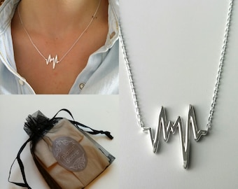 Silver necklace 925, cause heartbeats - 925 solid silver Flash / adjustable size - silver 925