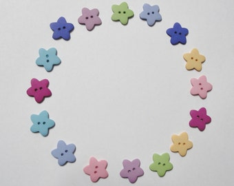 Flower Buttons - Set of 16 - Assorted Colors