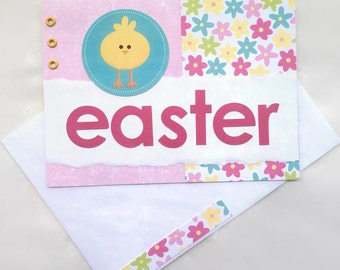 Cute Easter Card | Easter Greeting | Handmade Card | Spring Card | Baby Chick Card | Happy Easter