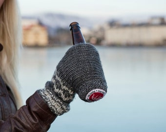 Hanskie is the Viking Way To Drink: Handmade Wool Mitten & Cup Holder In One