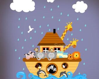 Children Noahs Ark Wall - Nursery Decal Sticker - Noahs Ark Playroom Bedroom Decor Noashs Ark Room Decor - cna01