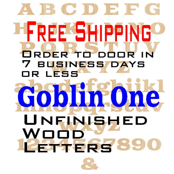 Unfinished Wood Letters Numbers, Free Shipping, Goblin One, Wood Craft, laser cut wood wood, &, birch, wooden, wall, DIY