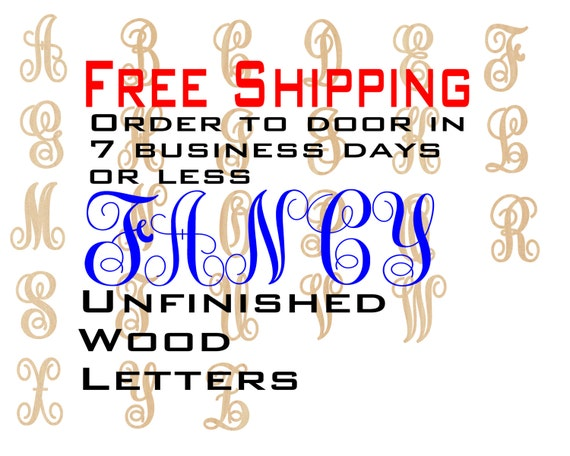 Unfinished Wood Letters, Free Shipping, Fancy Monogram, Wood Craft, laser cut wood, wooden, wall, DIY, Wedding, Nursery