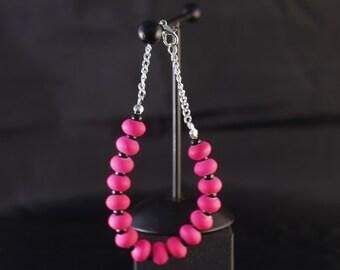 Fluro pink candy beaded bracelet