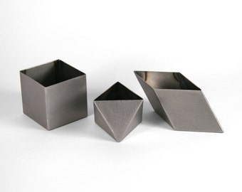 "3"" Variety Pods Set of 3 - Handmade Geometric Steel Containers - PrimeForm Tabletop - Crosstree Seed Products"