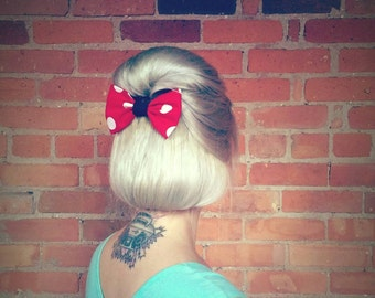 Rockabilly Hair Accessories Cherry Red Polka Dot Hair Bow Minnie Mouse Style