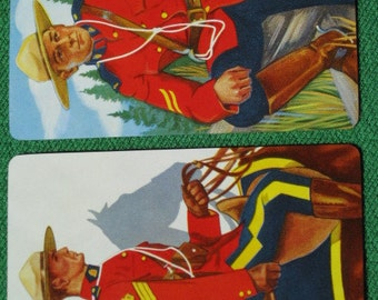 Two Swap Cards R.C.M.P. Royal Canadian Mounted Police Great Art Vintage 1950's Mint Unused