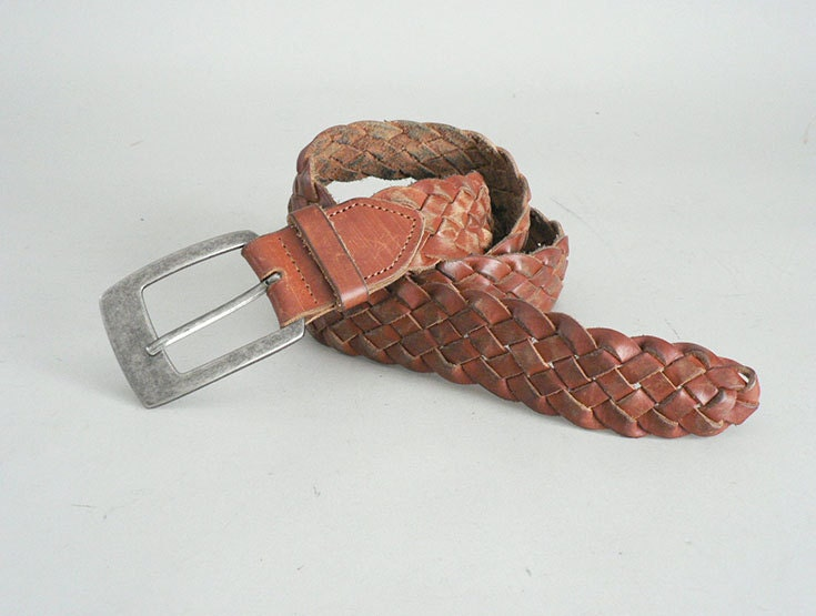 brown woven leather belt size large