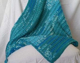 Blue Green Variegated Crocheted Baby Blanket