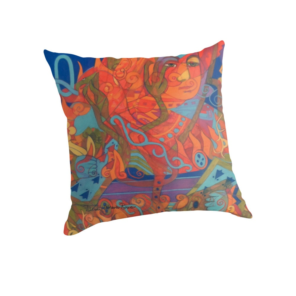 Queen Throw Pillow : Queen of BonesThe Queen s Fire Throw Pillow