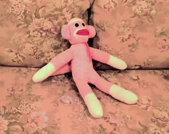 Silvia the Pink Sock Monkey 19 inches by monSOCKeys, Handmade Red Heel Sock Monkey, Stuffed Monkey, Toy, Novelty Gift, Pink Monkey, Doll