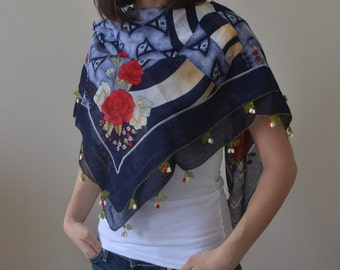 Cotton Deep Blue Square Scarf with Needle Lace Edging, Red Green Yellow Figures and Flowers Scarf, Cotton Scarf, Square Scarf